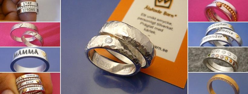 Förlovningsringar, Namnringar. Kärleksfullt silversmide och guldsmide. Älskade Barn smider ringar och graverar med kärlek.