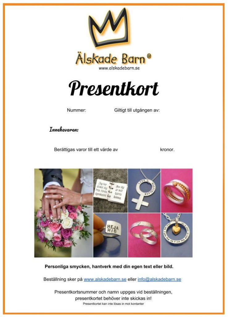 Presentkort Älskade Barn AB - A4 - Skriv ut själv.